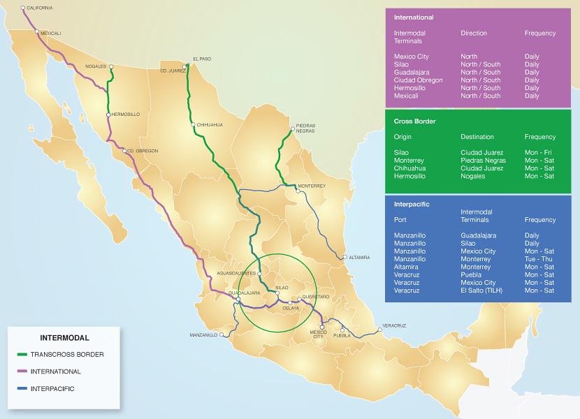 Ferromex - Intermodal map us
